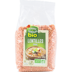 Lentilles corail bio TERRE ET CEREALES, sachet de 500g