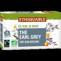 Thé earl grey darjeeling Bio ETHIQUABLE, boite de 20 sachets