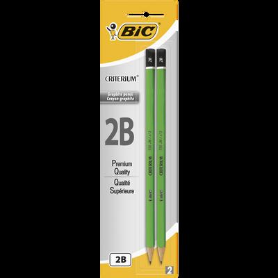 Crayon graphite Critérium 550 BIC, 2B, corps en bois, 2 unités
