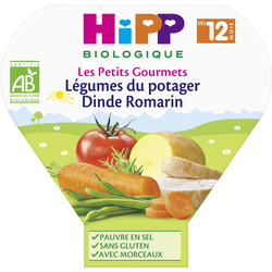 Assiette pour bébé légumes du potager dinde romarin HIPP biologique, dès 12 mois, 230g