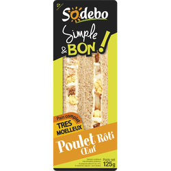 Sandwich pain complet poulet et oeuf SODEBO, 125g