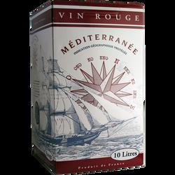 Vin rouge de pays de Méditerranée, fontaine à vin de 10l