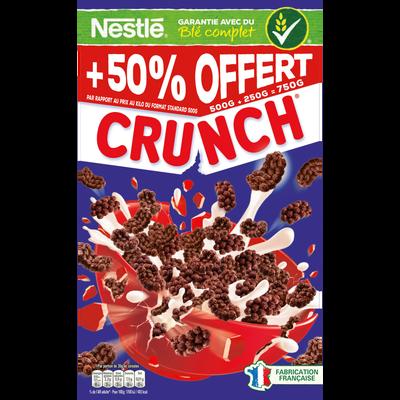 Céréales crunch NESTLE, paquet 500g + 50% offert 750g