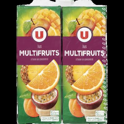 Jus à base de concentré multifruits U, 4 briques de 1l