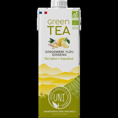 Thé vert infusé gingembre yuzu ginseng BIO UNI TEA, brique de 1l