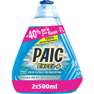 Liquide vaisselle destructeur de bactéries PAIC EXCEL+, flacon de 2x500 ml