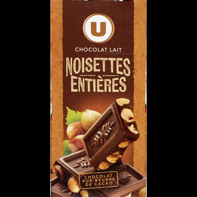 Tablette de chocolat au lait et aux noisettes entières U, tablette de200g