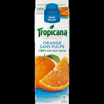 Pur jus d'orange réfrigéré sans pulpe TROPICANA Pure Premium, brique de 1l