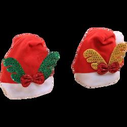 Bonnet de Noël pour adulte-modèles assortis:bois verts avec noeudpapillon rouge,bois dorés avec noeud papillon rouge