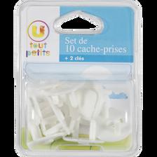 SET DE 10 CACHE-PRISES + 2 CLÉS UTP