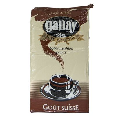 Café moulu gout Suisse arabica doux GALLAY, paquet de 250g