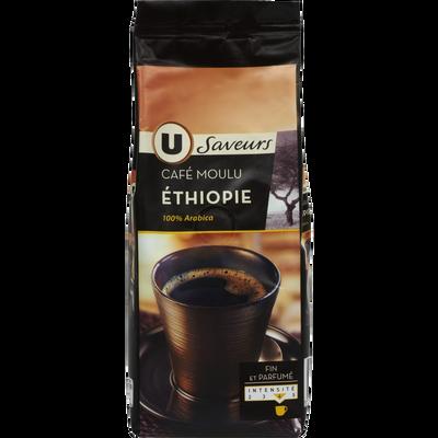 Café moulu arabica d'Ethiopie U SAVEURS, paquet de 250g