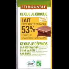 Chocolat lait 53% Equateur bio ETHIQUABLE, tablette de 100g