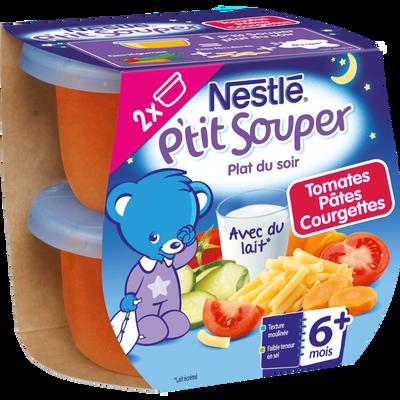 Bols pour bébé tomate, pâte et courgette P'tit Souper, NESTLE, dès 6 mois, 2x200g