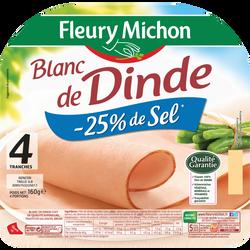 Blanc de dinde doré au four -25% sel FLEURY MICHON 4 tranches 160g