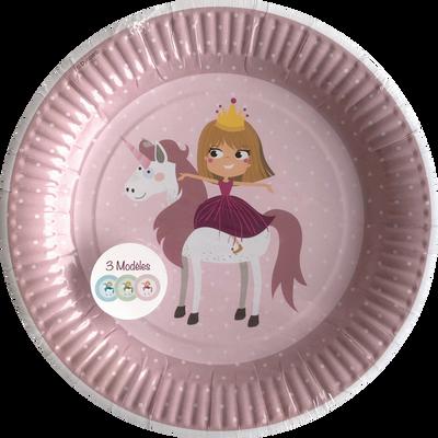 Assiettes princesse, 23cm, 6 unités