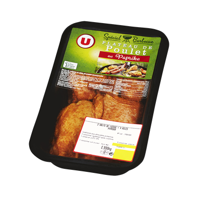 Plateau poulet mariné 2 hauts cuisses + ailes de poulet au paprika, U,550g