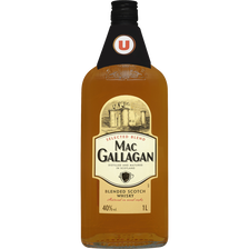 Scotch Blended  Whisky 3 Ans D'âge Mac Gallagan U , 40°, Bouteille De 1l