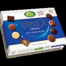 Chocolat au lait, blanc et noir splendor LUTTI, 230g
