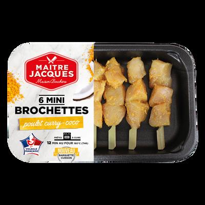 Mini brochette poulet curry/coco pic bambou, MAITRE JACQUES, France, 6pièces, barquette, 180g