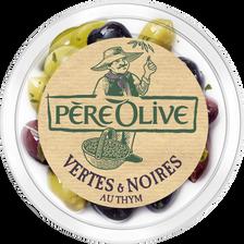 Olive verte et noire au thym, barquette, 150g