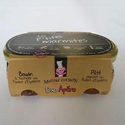 Duo apéro, Pâté piquant au piment d'Espelette et Boudin  tartiner au piment d'espelette, Les p'tites marmites, 2X180gr, bocal, Sodiporc