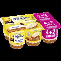 Riz au lait nature sur lit de caramel LA LAITIERE, 4x115g + 2 offerts