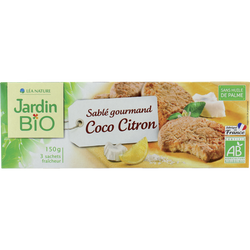 Biscuits sablés à la noix de coco & au citron JARDIN BIO,  3 sachets fraicheur, 150g
