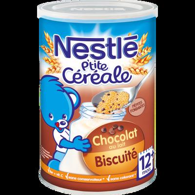 P'tite céréale chocolat au lait buscuitée pépites fondantes 12 mois, NESTLE, 400g