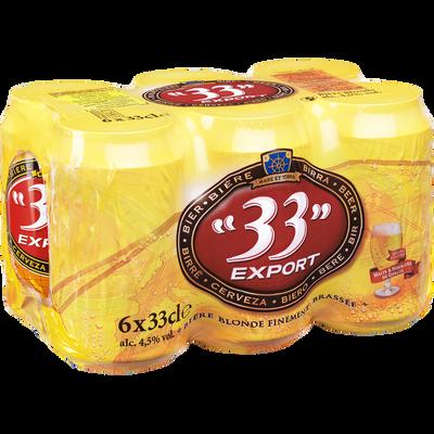 Bière blonde 33 Export 4,5°,pack boîtes 6x33cl