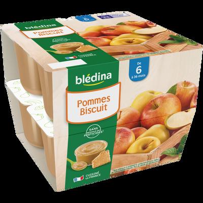 Coupelle 100% fruits biscuit BLEDINA, de 6 à 36 mois, 8x100g