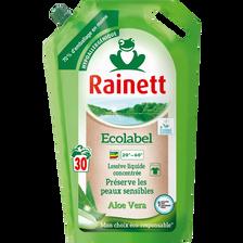 Rainett Lessive Liquide Concentrée Écolabel Aloé Véra , Recharge De 30lavages, 1,98 Litre
