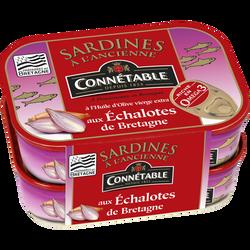 Sardines entières à l'huile d'olive et aux échalotes CONNÉTABLE, 2 boîtes de 115g