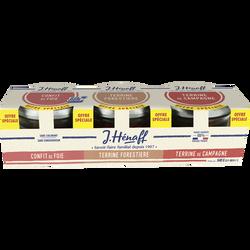 Terrine de campagne, forestière et confit de foie HENAFF, 3x180g