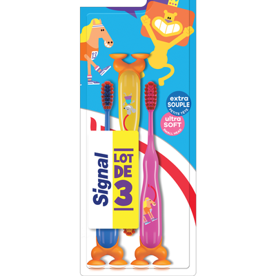 Brosse à dents enfant 2 à 6 ans extra souple SIGNAL, x3