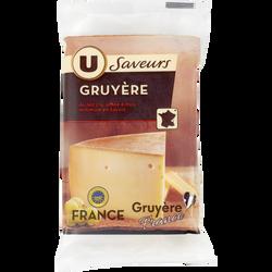 Gruyere IGP au lait cru U SAVEURS, 32% de MG, 250g