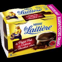 Dessert lacté crème chocolat extra noir LA LAITIERE, 4x100g