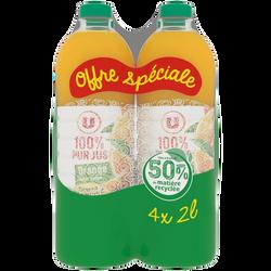 Pur jus d'orange sans pulpe U pet 4x2 litre prix choc