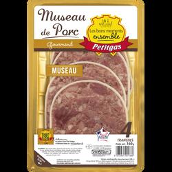 PETITGAS museau de porc avec langue, 4 tranches, 160g