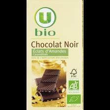 Tablette de chocolat noir aux amandes U BIO, 100g