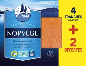Petit Navire Saumon Atlantique Élevé En Norvège Fumé Petit Navire, X4 + 2 Mini Tranches Offertes Soit 160g