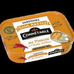 Sardines sans arêtes piment huile d'olive vierge extra CONNETABLE, boîte de 140g