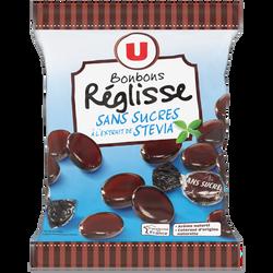 Bonbons à la réglisse sans sucre stevia U, sachet de 120g