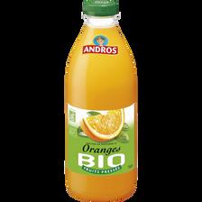 Jus orange bio ANDROS, bouteille en plastique de 75cl