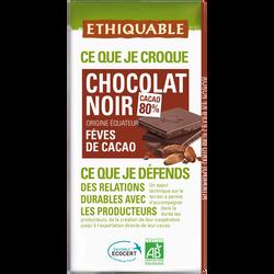 Tablette de chocolat noir feves de cacao Côte d'Ivoire et Equateur Bio ETHIQUABLE, 100g