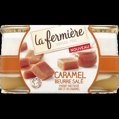 Yaourt brassé bi-couche sucré et lit caramel beurre salé, LA FERMIERE,2X160g