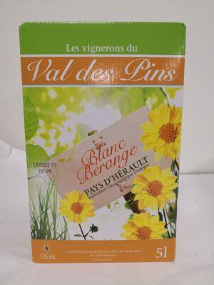 IGP Pays d'Hérault - Les Vignerons du Val des Pins - Blanc Bérange - BIB 5L