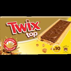 Barres chocolat biscuit TWIX top, pack de 10, 210g