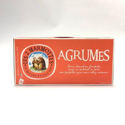 Infusion aux agrumes, LES 2 MARMOTTES, 30 Sachets