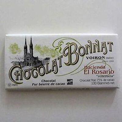 """Chocolat noir au beurre de cacao """"Hacienda el Rosario Venezuela"""" BONNAT,100gr"""